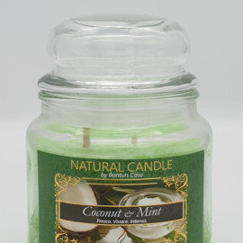 NATURAL CANDLE IN GIARA 380 GR 100% CERA VEGETALE COCCONUT E MINT