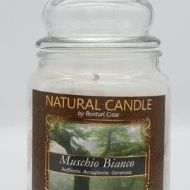 NATURAL CANDLE IN GIARA 580 GR 100% CERA VEGETALE MUSCHIO BIANCO