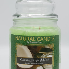 NATURAL CANDLE IN GIARA 580 GR 100% CERA VEGETALE COCCONUT E MINT