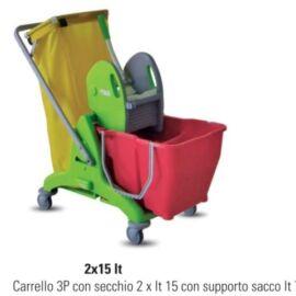 CARRELLO 2 POSTI 2X15 LITRI CON SUPORTO SACCO VERDE IPC