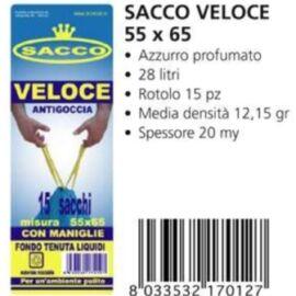 SACCO IMMONDIZIA AZZURRO CM 55X65 15PZ CON MANIGLIE