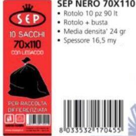 SACCO IMMONDIZIA NERO SEP CM 70X110 10PZ