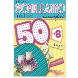BIGLIETTO COMPLEANNO 50/59 LEI  ASSORTITO CM 11,5X17 AL PZ