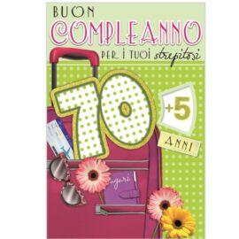 BIGLIETTO COMPLEANNO 70/79 LEI  ASSORTITO CM 11,5X17 AL PZ