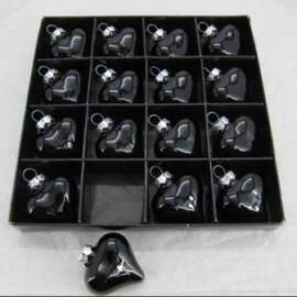 BOX 16 CUORICINI VETRO CM 3,8 NERO