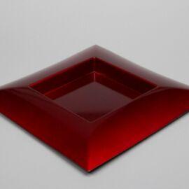 PIATTO PLASTICA QUADRATO CM 40X40X4,5 GLITTER RED