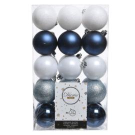 TUBO 30 PALLINE IN PLASTICA 6 CM MIX BLUE-WHITE