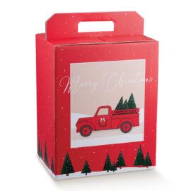 SCATOLA PANETTONE+BOTTIGLIA MM 305X225X350 RED PICKUP