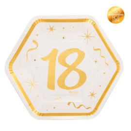 PIATTI ESAGONALI 18 ANNI GOLD CM 23 PZ8