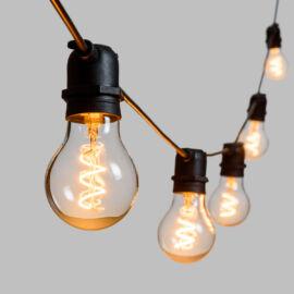 CATENA CON 10 LAMPADINE VETRO LED BIANCO CALDO D.60MMX5MT PROLUNGABILI