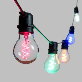 CATENA CON 10 LAMPADINE VETRO LED MULTICOLOR D.60MMX5MT PROLUNGABILI