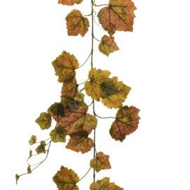 FESTONE AUTUNNALE CON 92 FOGLIE REAL TOUCH BURGUNDY GREEN
